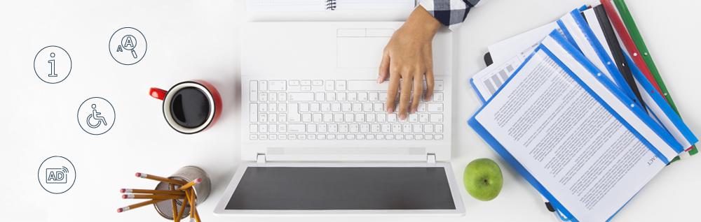 Kobieta pracująca przy lapopie oraz ikonki dostępności