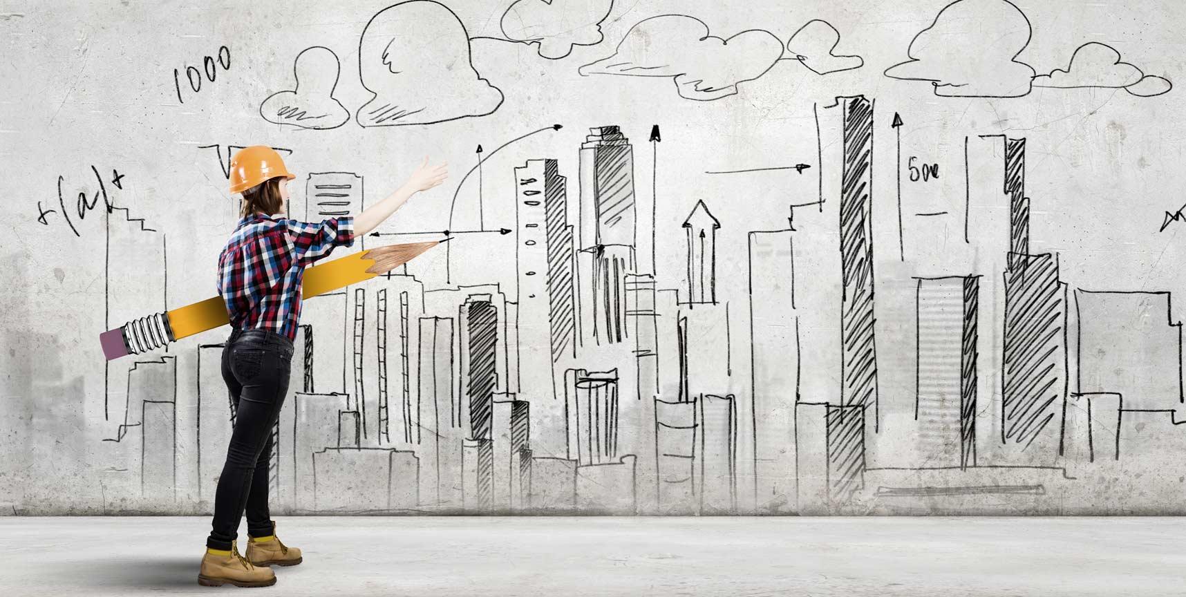 Kobieta architekt z ołówkiem rysująca projekt budowlany